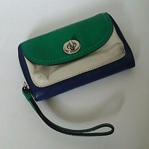 Coach color block leather wristlet wallet